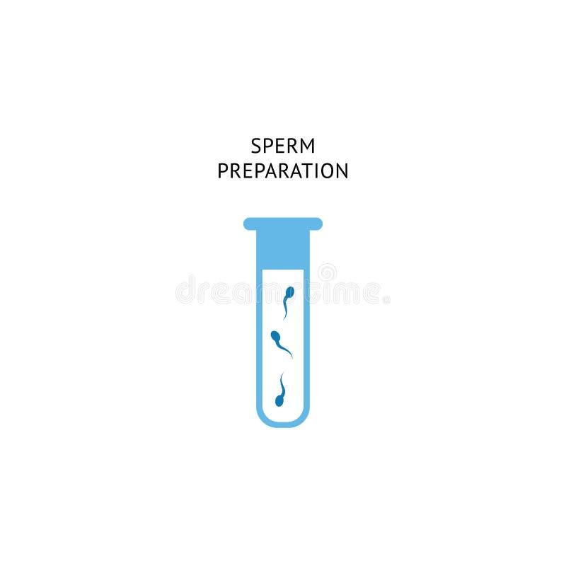 精液受精的准备做法 实验室与人类生殖力细胞的管象授精和IVF的 向量例证