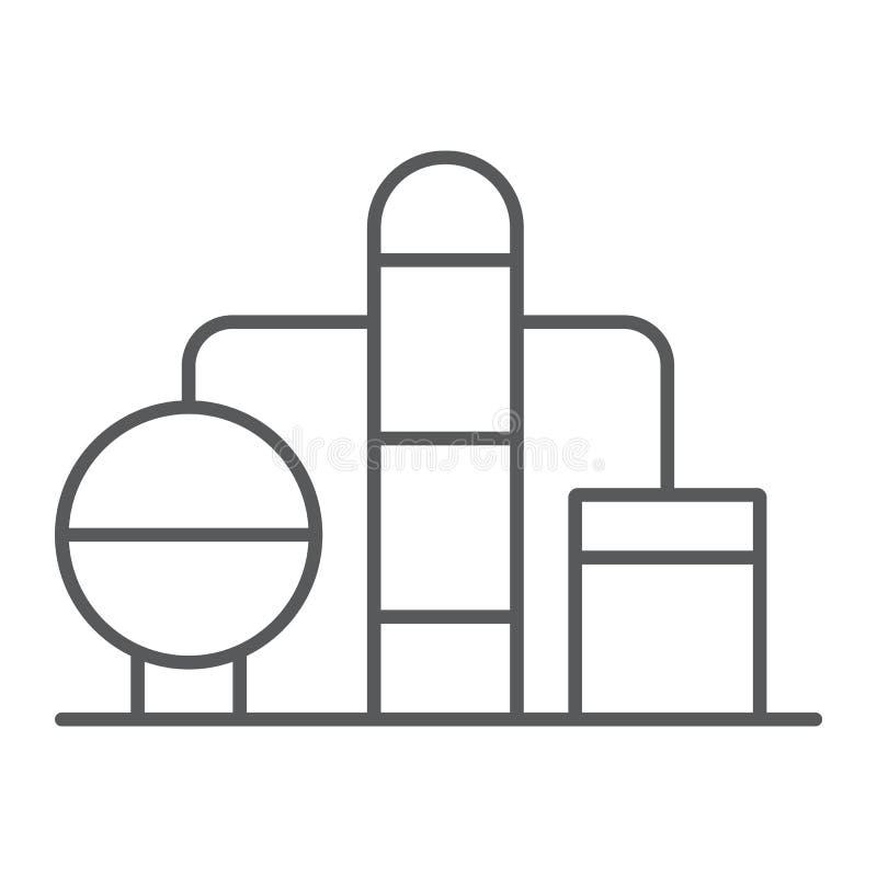 精炼厂稀薄的线象,燃料和植物,油工厂标志,向量图形,在白色背景的一个线性样式 库存例证