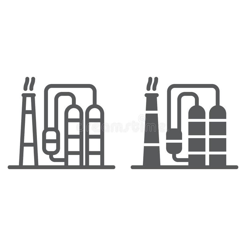精炼厂线和纵的沟纹象,industy和工厂,工厂设备标志,向量图形,在白色的一个线性样式 向量例证