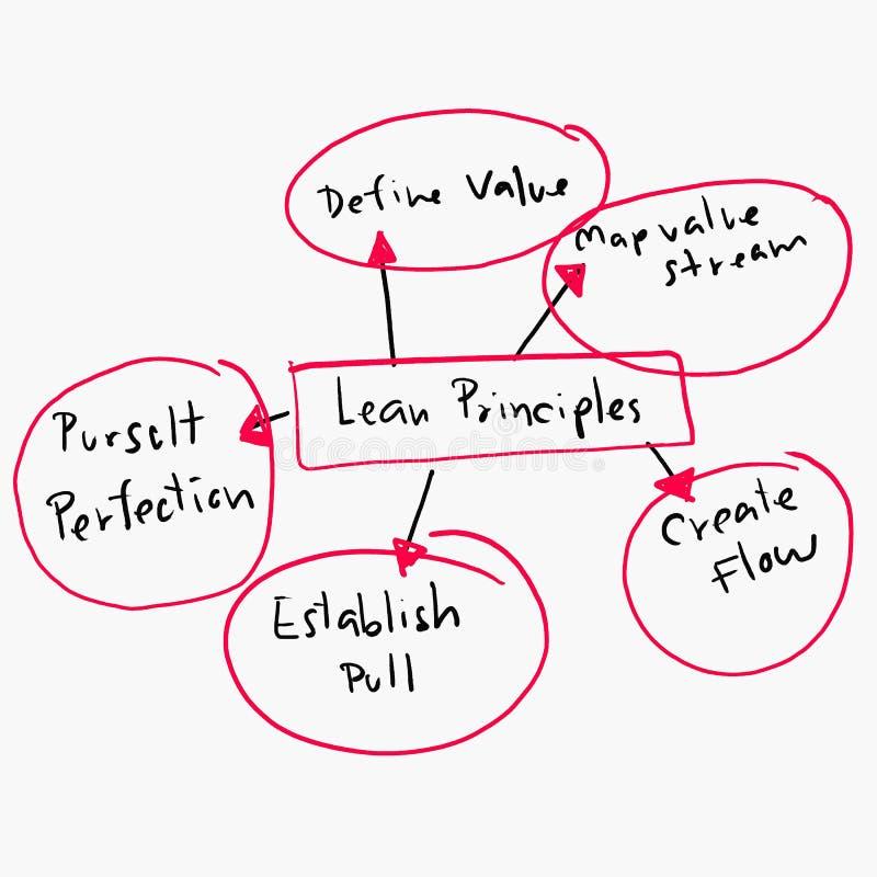 精瘦的原则的概念在经营活动的设计图表 免版税库存照片