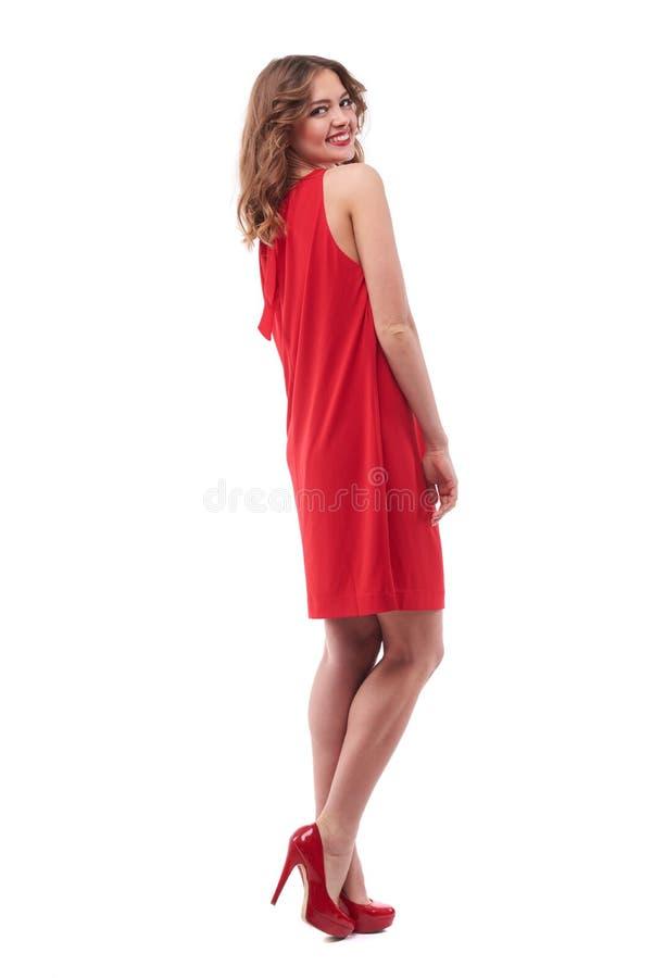 精瘦的诱人的模型看在肩膀 库存图片