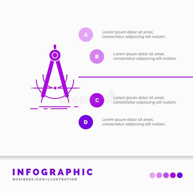 精确度、accure、几何、指南针、测量Infographics模板网站的和介绍 r 向量例证