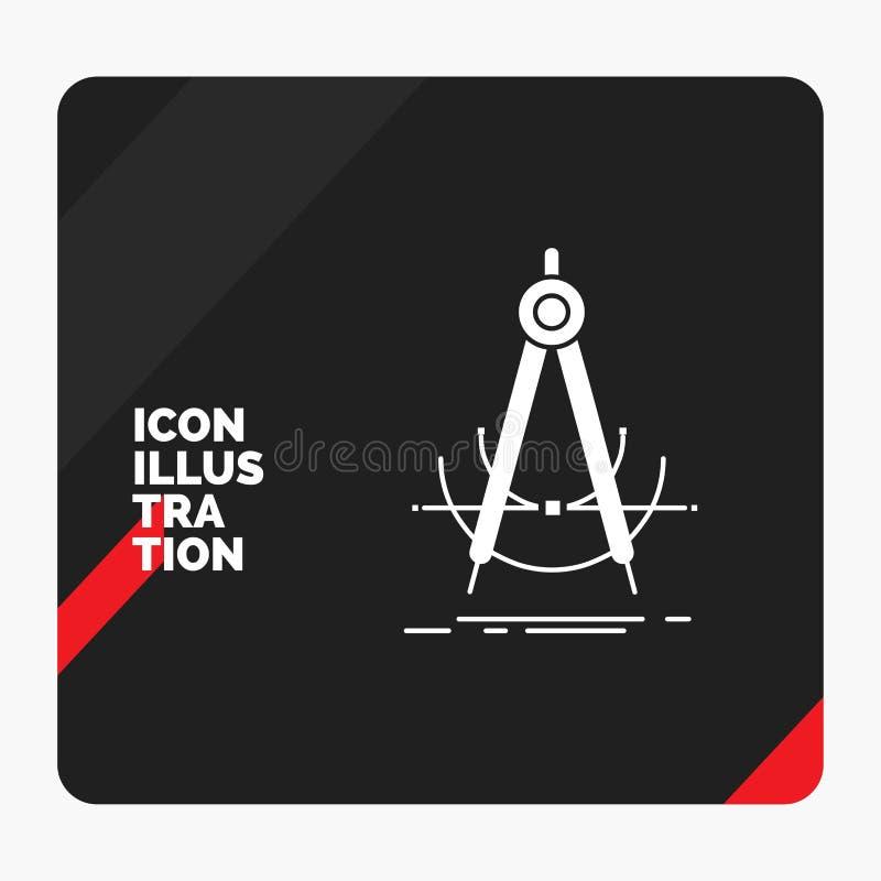 精确度的,accure,几何,指南针,测量纵的沟纹象红色和黑创造性的介绍背景 皇族释放例证