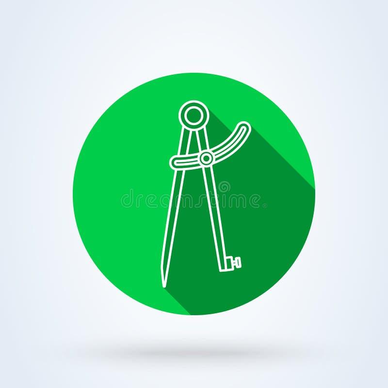 精确度铅笔指南针线 简单的传染媒介现代象设计例证 皇族释放例证