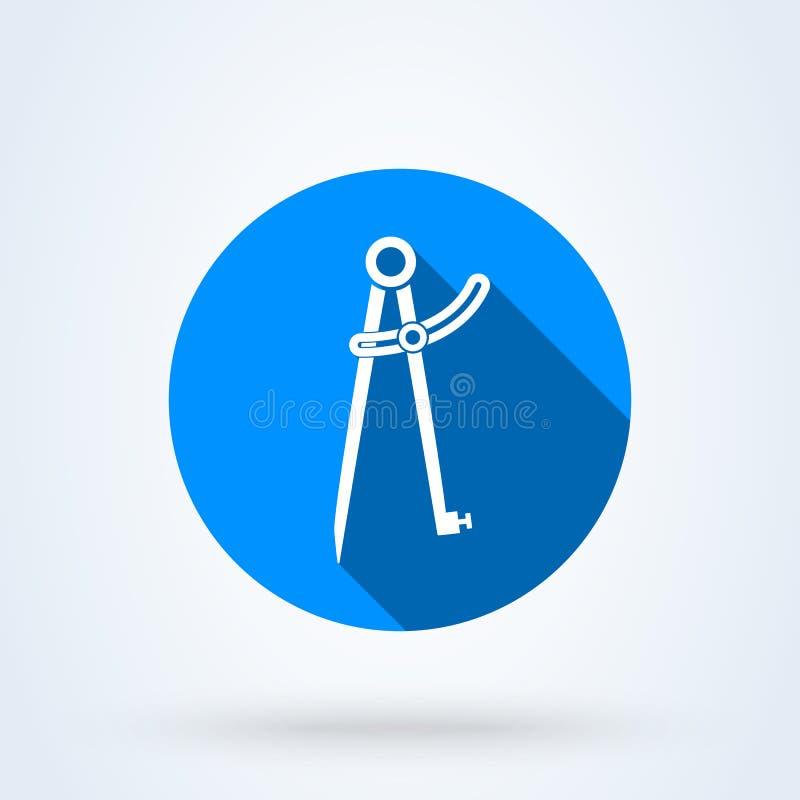 精确度铅笔指南针 简单的传染媒介现代象设计例证 皇族释放例证