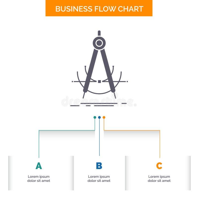 精确度,accure,几何,指南针,测量企业与3步的流程图设计 r 向量例证