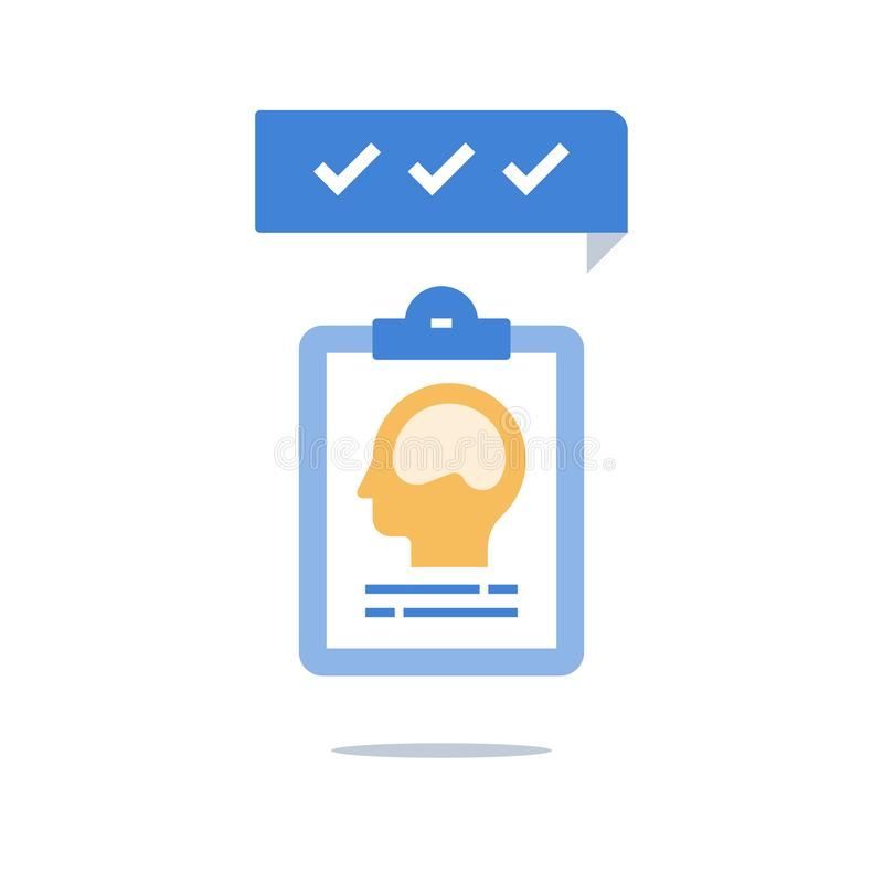 精神健康、智力评估、成长心态,个人潜力,创造性思为,精神病学或者神经学 库存例证