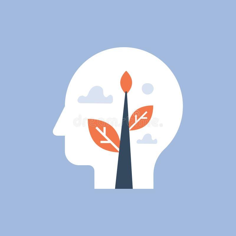 精神健康、自已成长、潜在的发展、正面心态、留心和凝思概念、声望和信心 库存例证