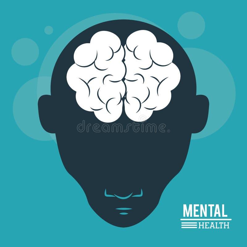 精神健康、顶头人、剪影面孔和脑子在平的样式 向量例证