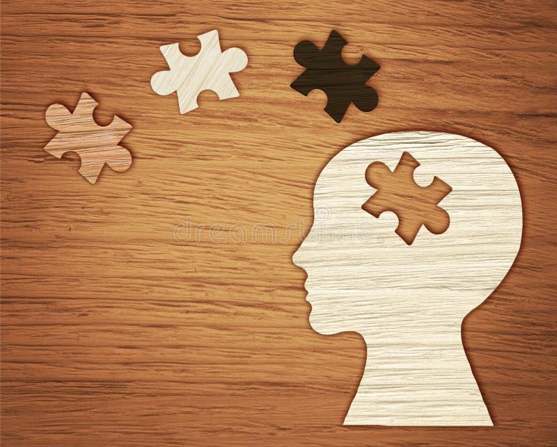 精神健康标志 与难题的人头剪影 免版税库存图片