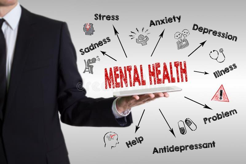 精神健康概念 与主题词和象的图 拿着片剂计算机的年轻人 库存图片