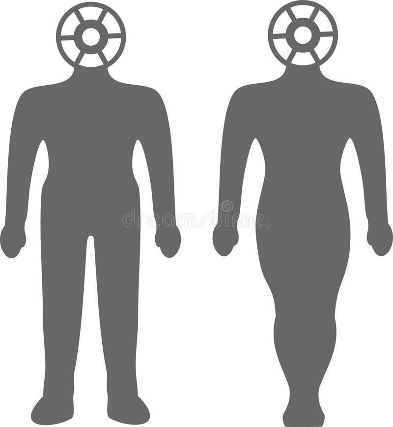 精神健康顶头嵌齿轮,人剪影的精神疗法例证  库存图片