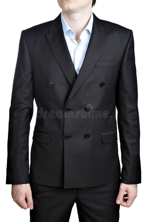 精神双排扣的黑舞会之夜绅士衣服,隔绝在白色 库存图片