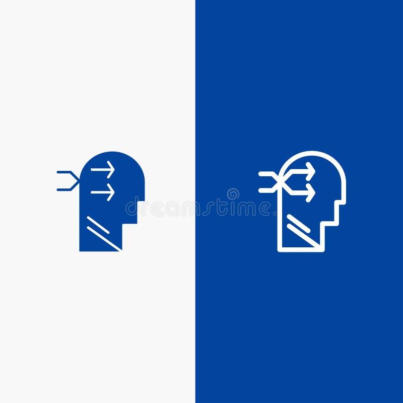 精神吊、头、布赖恩,想法的线和纵的沟纹坚实象蓝色旗和纵的沟纹坚实象蓝色横幅 库存例证