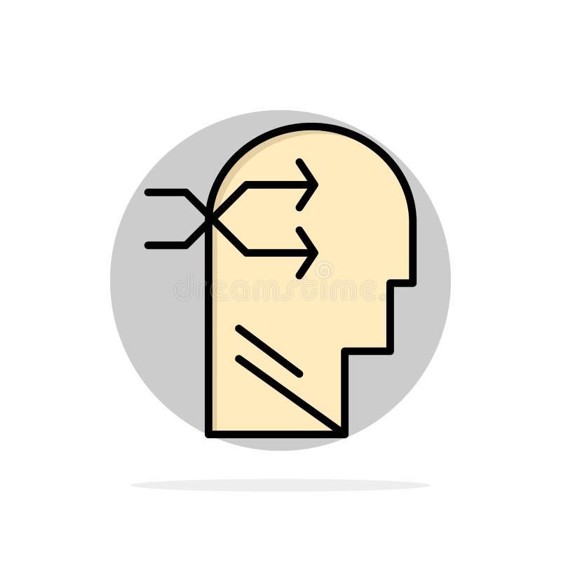 精神吊,头,布赖恩,想法的抽象圈子背景平的颜色象 库存例证