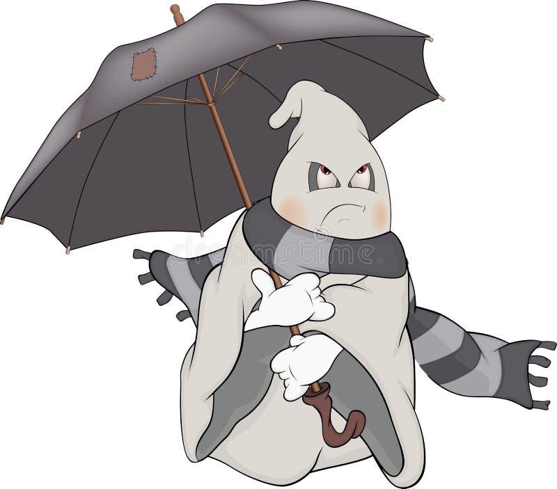 精神和伞。动画片 库存例证