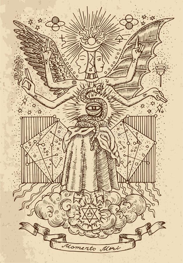 精神标志神秘或隐密智慧和永恒的图画,女神,小插图横幅和星座在纹理backg 库存例证