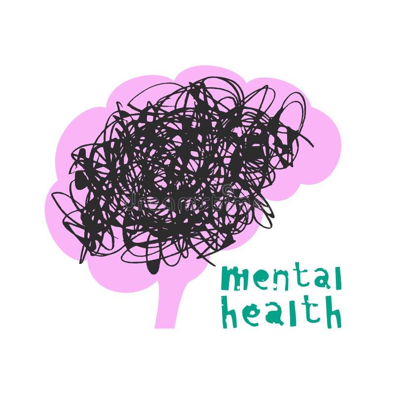 精神的健康 也corel凹道例证向量 库存例证