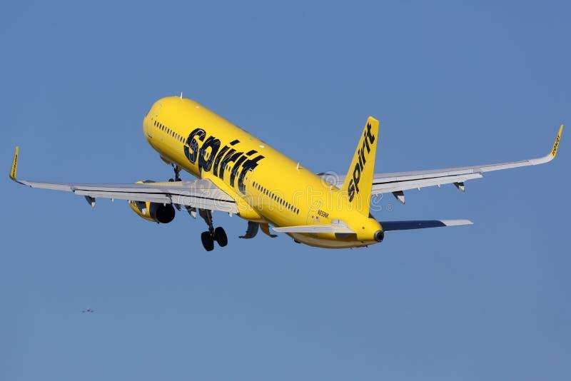 精神航空公司空中客车A321飞机劳德代尔堡机场 免版税库存图片