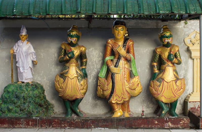 精神nats -缅甸的传统神雕象  免版税库存图片