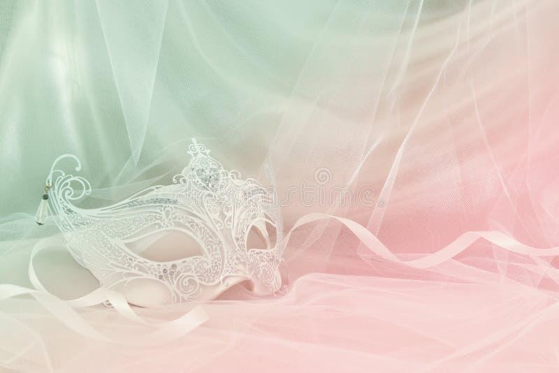 精美和典雅的白色威尼斯式面具的图象在薄纱背景前面的 库存图片