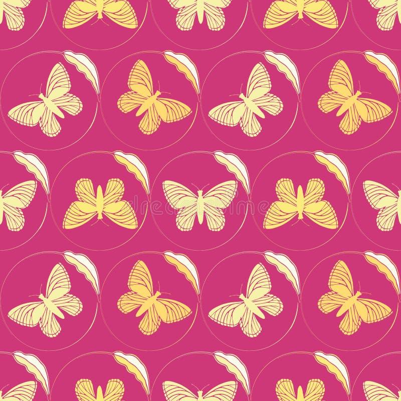 精美唯一叶子圈子构筑的金黄黄色蝴蝶 在充满活力的桃红色的无缝的手拉的传染媒介样式 库存例证