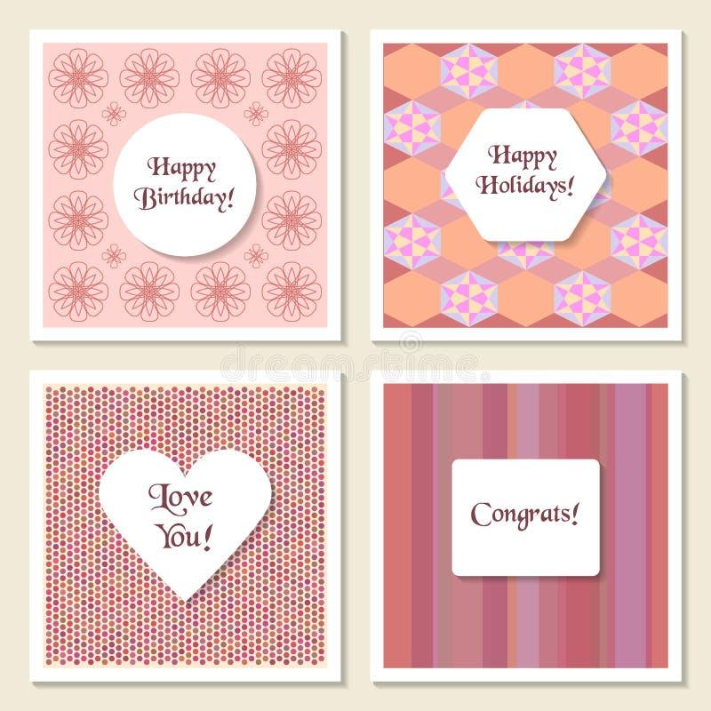 精美普遍卡片 几何和呼吸运动记录器纹理 婚礼,生日,周年, Valentin天,党 向量例证