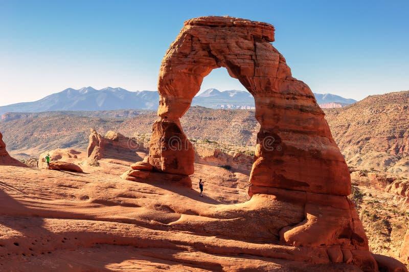 精美曲拱的,拱门国家公园,犹他摄影师 免版税库存照片