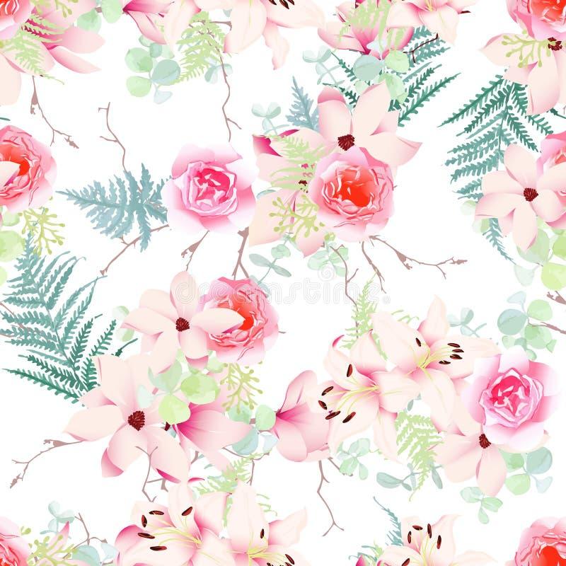 精美木兰,百合,玫瑰无缝的传染媒介样式 库存例证