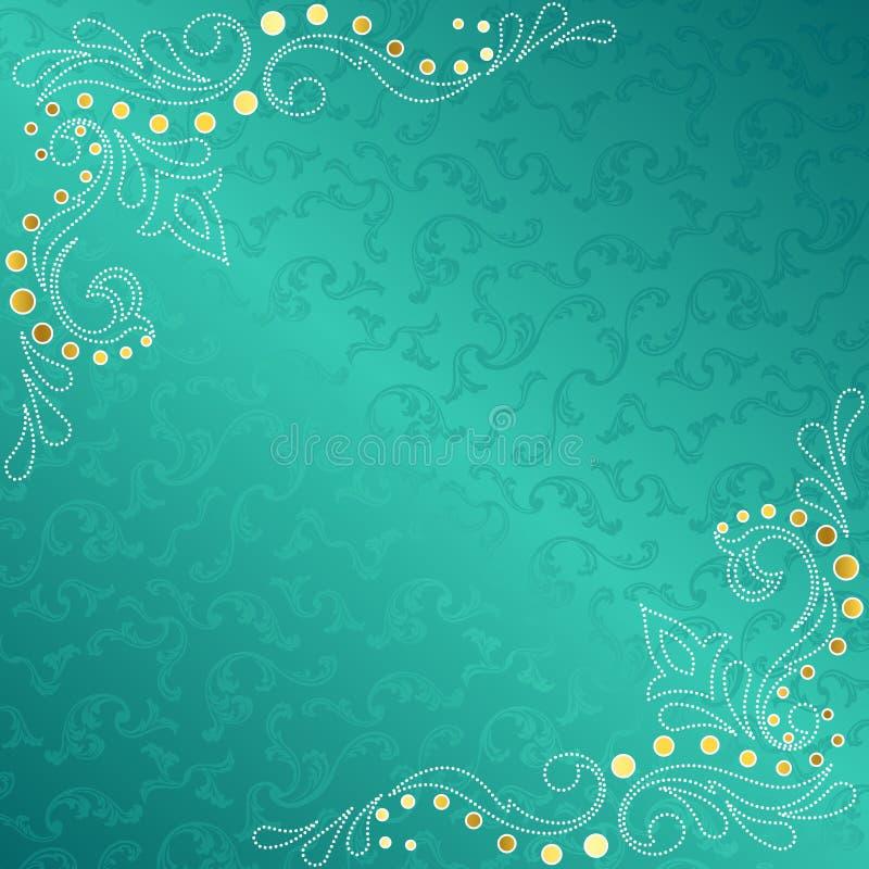 精美框架启发了莎丽服漩涡绿松石 皇族释放例证