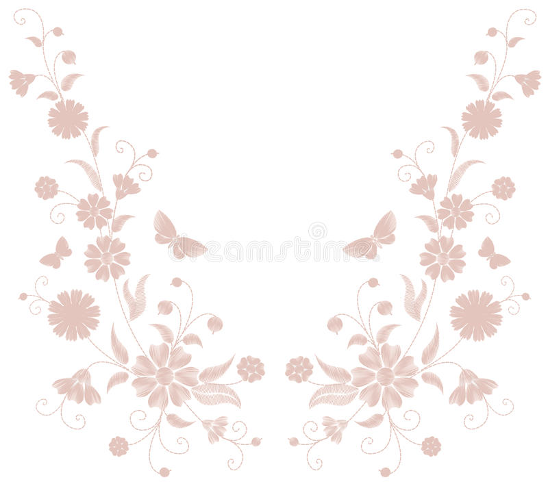 精美浅粉红色的米黄花刺绣 领域草本蝴蝶时尚纺织品印刷品 装饰华丽中立补丁 向量例证