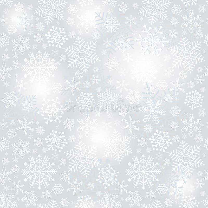 精美银色无缝的圣诞节样式 库存例证