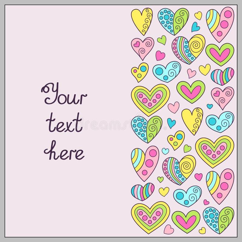 精美颜色乱画手拉的模板与心脏的Ro的 库存例证