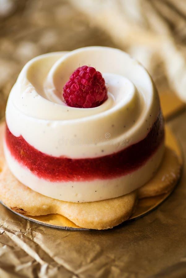 精美香草和莓调味汁蛋糕 免版税库存图片