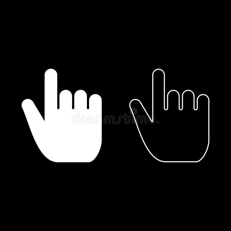 精选手的点宣称推挤点击的概念的食指食指选择象集合白色例证平的样式 皇族释放例证
