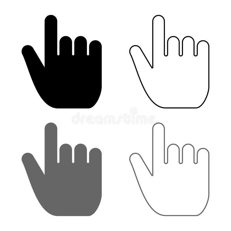 精选手的点宣称点击概念推挤的食指食指选择象集合灰色黑色例证概述 库存例证