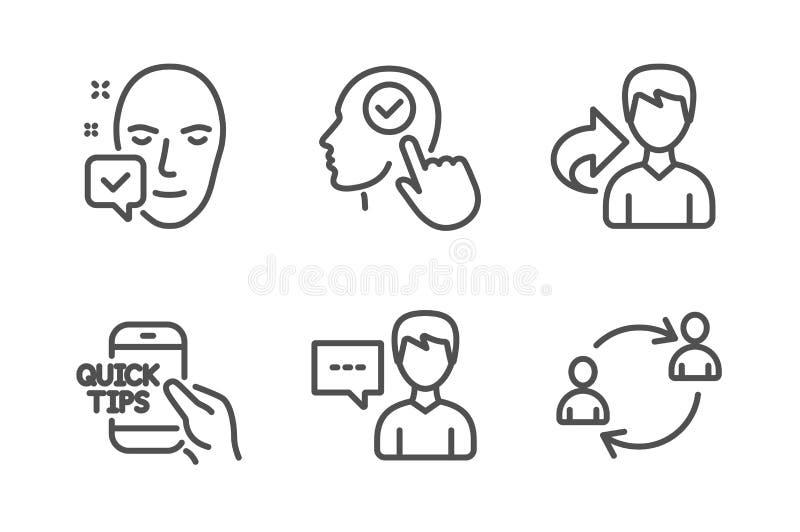 精选的用户、人谈话和教育象集合 面孔接受了,份额和用户通信标志 ?? 库存例证