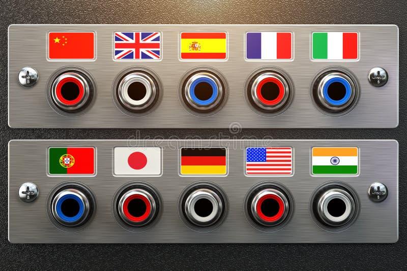 精选的语言 学会,翻译语言或音频指南co 向量例证
