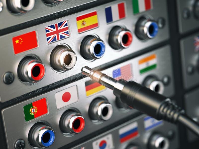 精选的语言 学会,翻译语言或音频指南co 库存例证