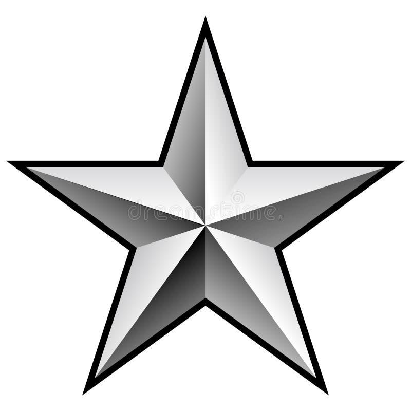 精采银色Chrome星传染媒介例证 向量例证