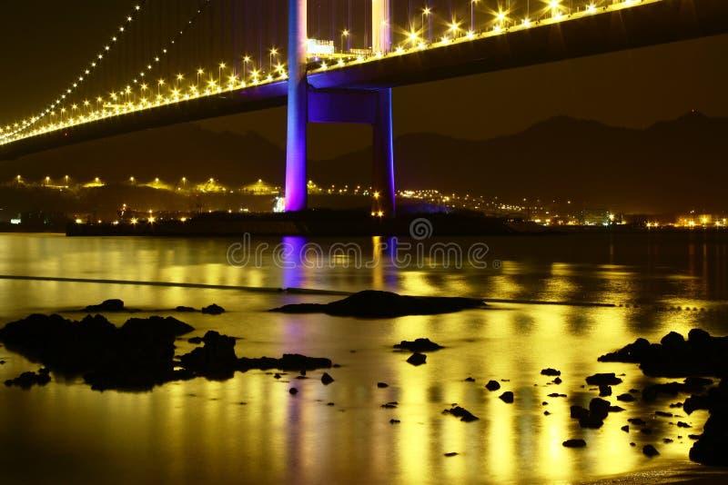 精采青马大桥夜场面香港 免版税库存图片