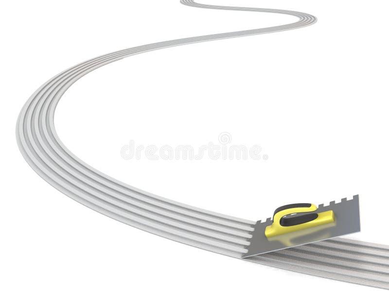 精整修平刀传播的灰浆线 3d回报 免版税库存照片