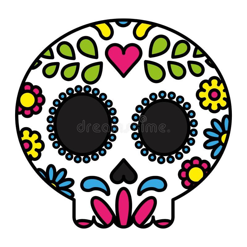 糖头骨五颜六色的花卉被隔绝的黑概述 皇族释放例证