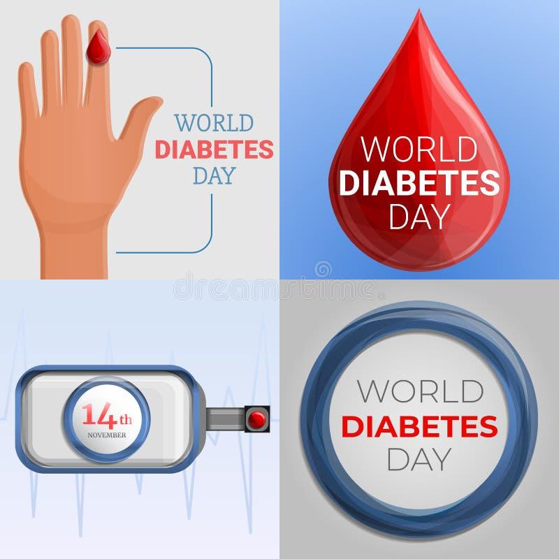 糖尿病天横幅集合,动画片样式 库存例证