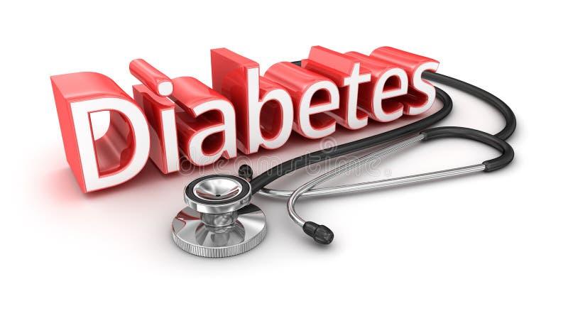 糖尿病文本, 3d medicical概念 库存例证