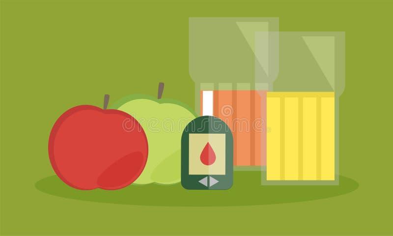糖尿病显示器、胆固醇饮食和健康食物吃营养概念 向量例证