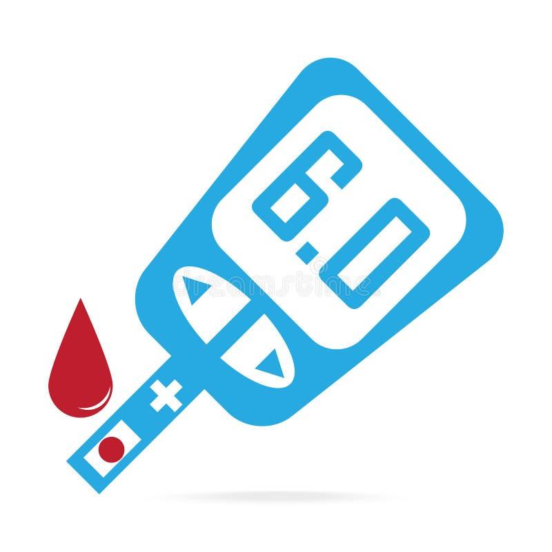 糖尿病蓝色象,对葡萄糖测试医疗标志的血液下落 向量例证