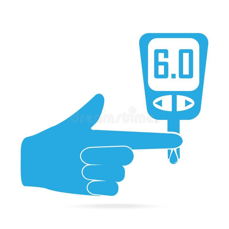 糖尿病蓝色象,对葡萄糖测试医疗标志的血液下落 库存例证