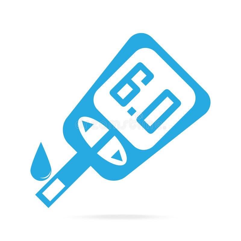 糖尿病象,对葡萄糖测试医疗标志的血液下落 向量例证