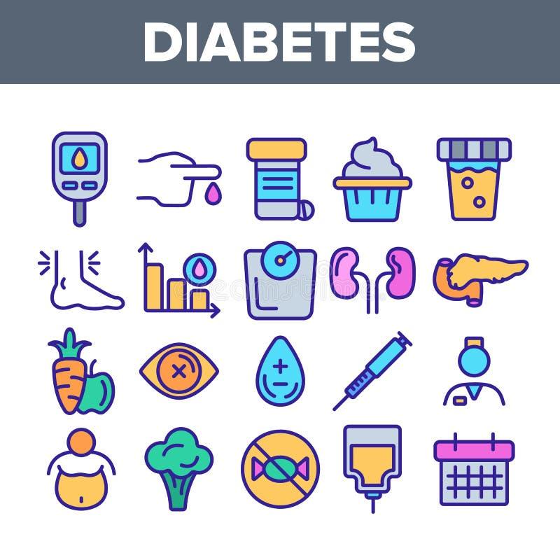 糖尿病,疾病诊断线性传染媒介象集合 皇族释放例证